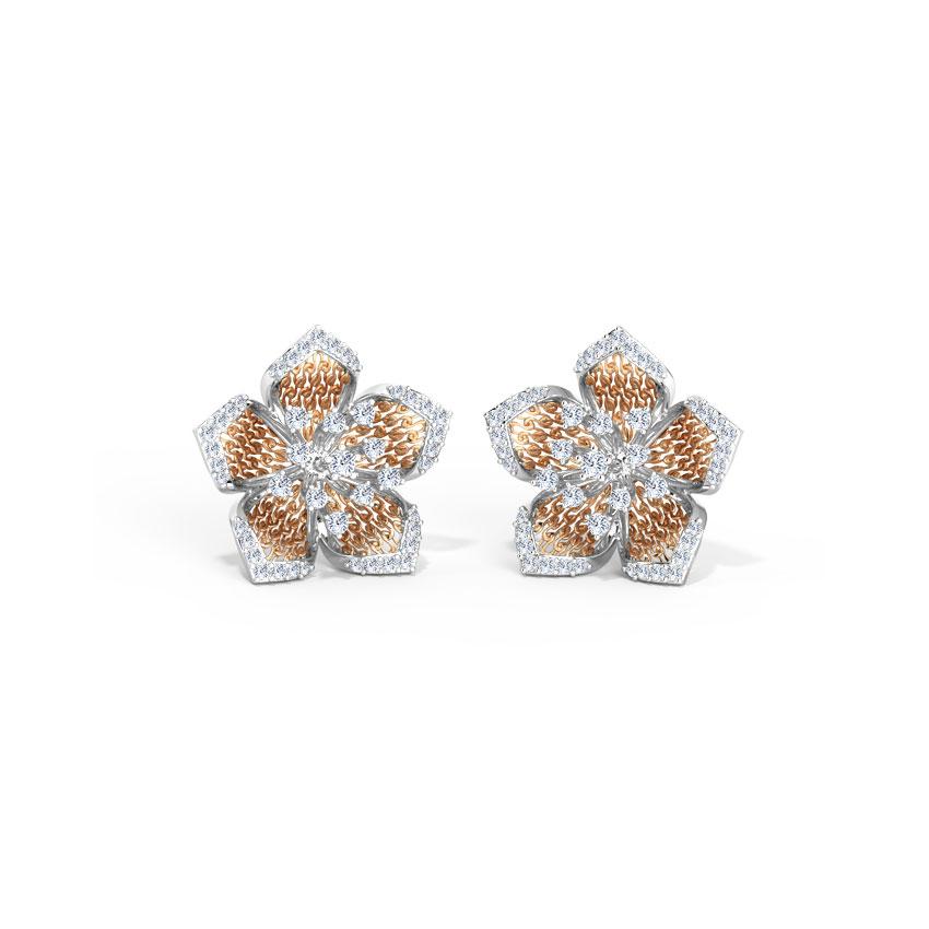 Diamond Earrings 14 Karat Two Tone Gold Abru Diamond Stud Earrings