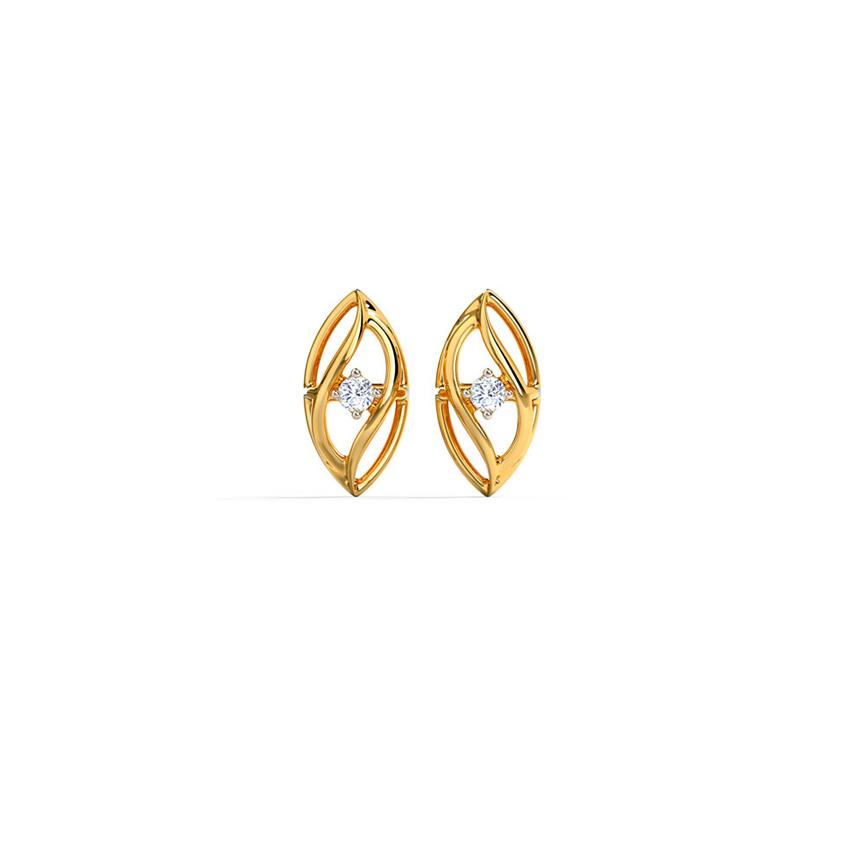 Diamond Earrings 14 Karat Yellow Gold Delicate Waves Diamond Stud Earrings