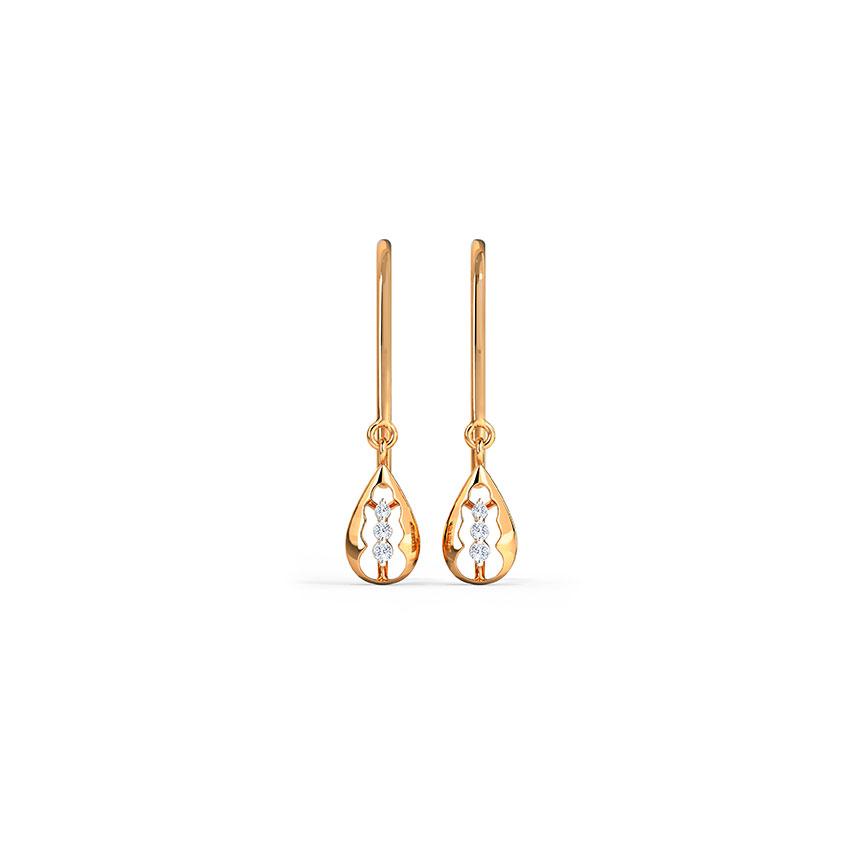 Diamond Earrings 14 Karat Rose Gold Tri Sparkle Diamond Drop Earrings