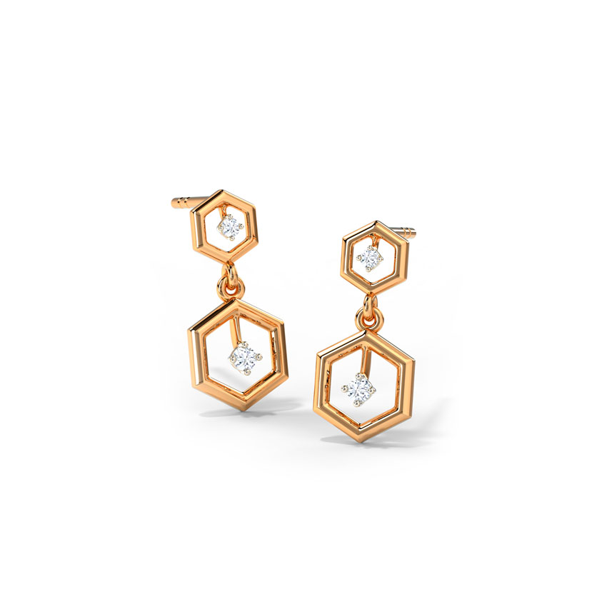 Duo Hexagon Drop Earrings
