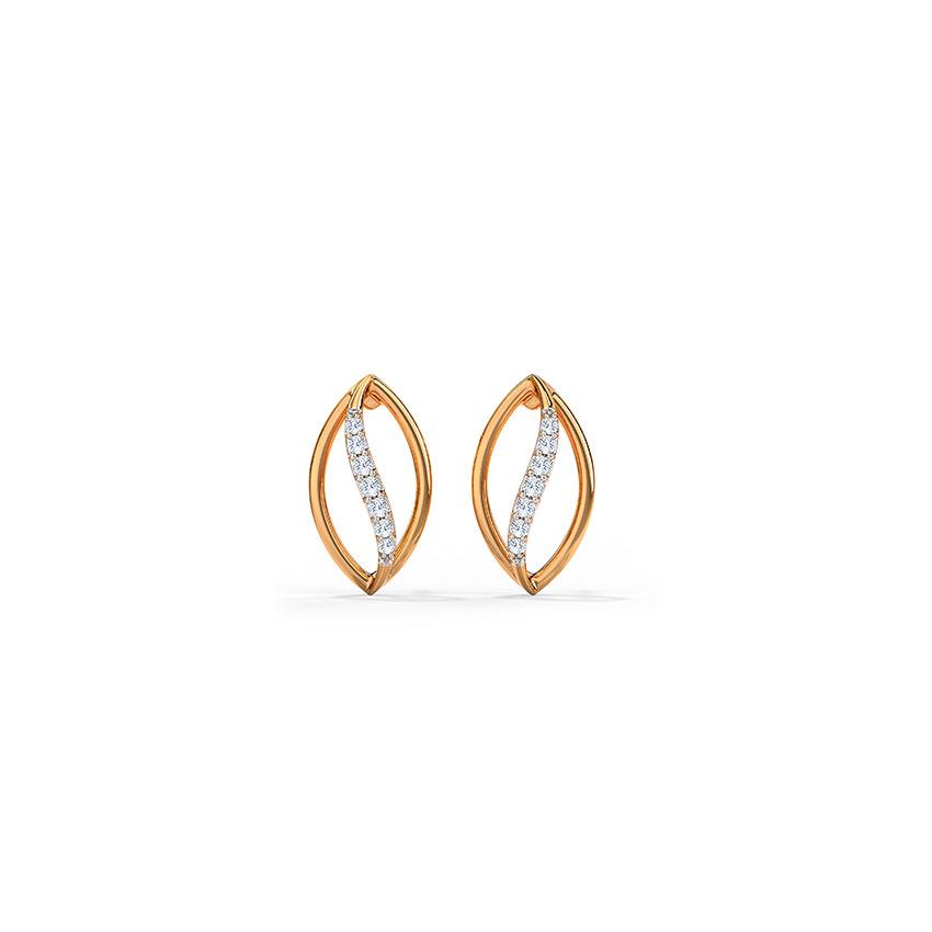 Glistening Wavy Stud Earrings