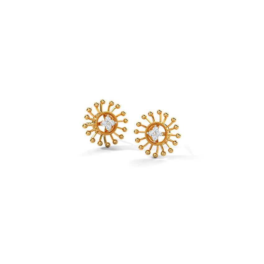 Diamond Earrings 14 Karat Rose Gold Gleaming Rays Diamond Stud Earrings