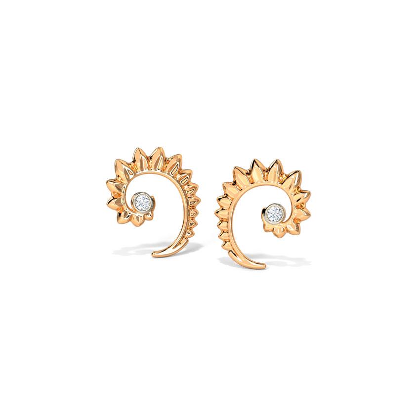 Diamond Earrings 14 Karat Rose Gold Swerve Petals Diamond Stud Earrings