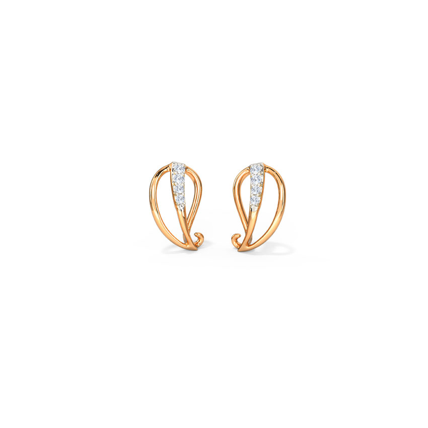 Diamond Earrings 14 Karat Rose Gold Gleaming Paisley Diamond Stud Earrings