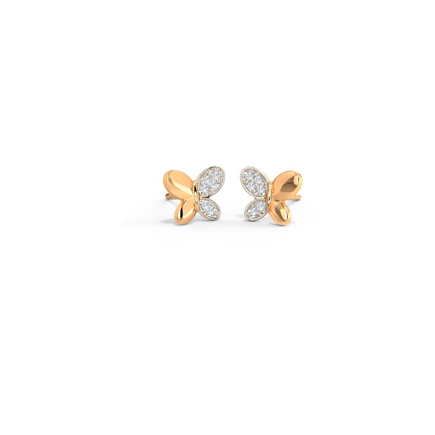 Diamond Earrings 14 Karat Rose Gold Petite Butterfly Diamond Stud Earrings