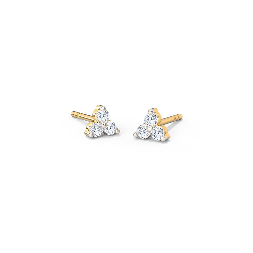 Diamond Earrings 14 Karat Yellow Gold Tri Glint Diamond Stud Earrings