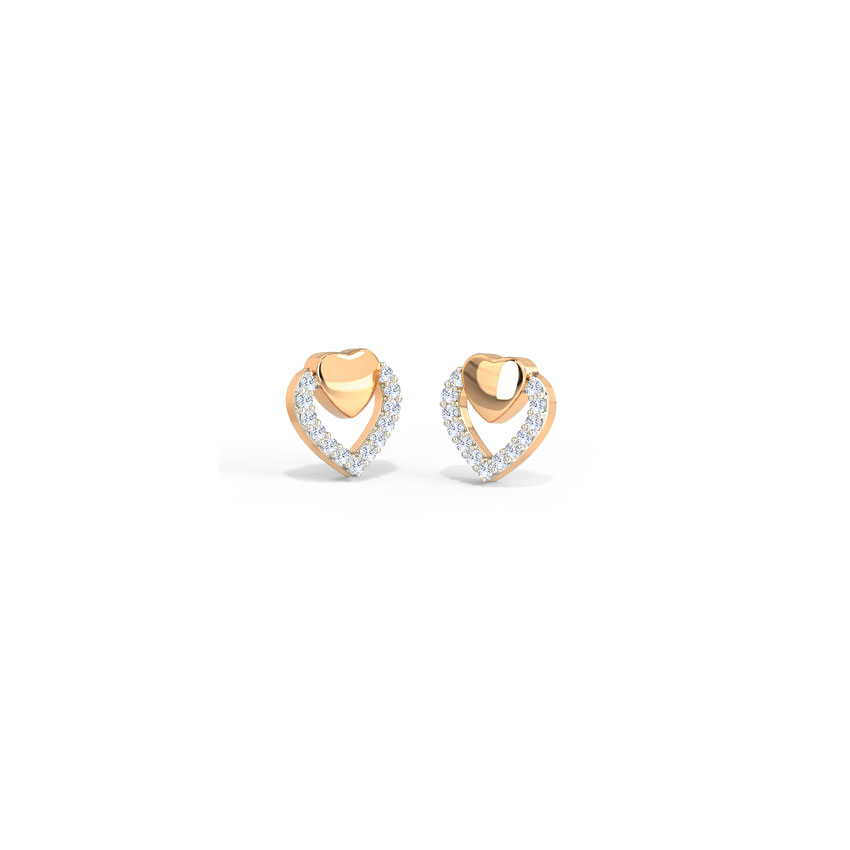 Sparkle Heart Stud Earrings