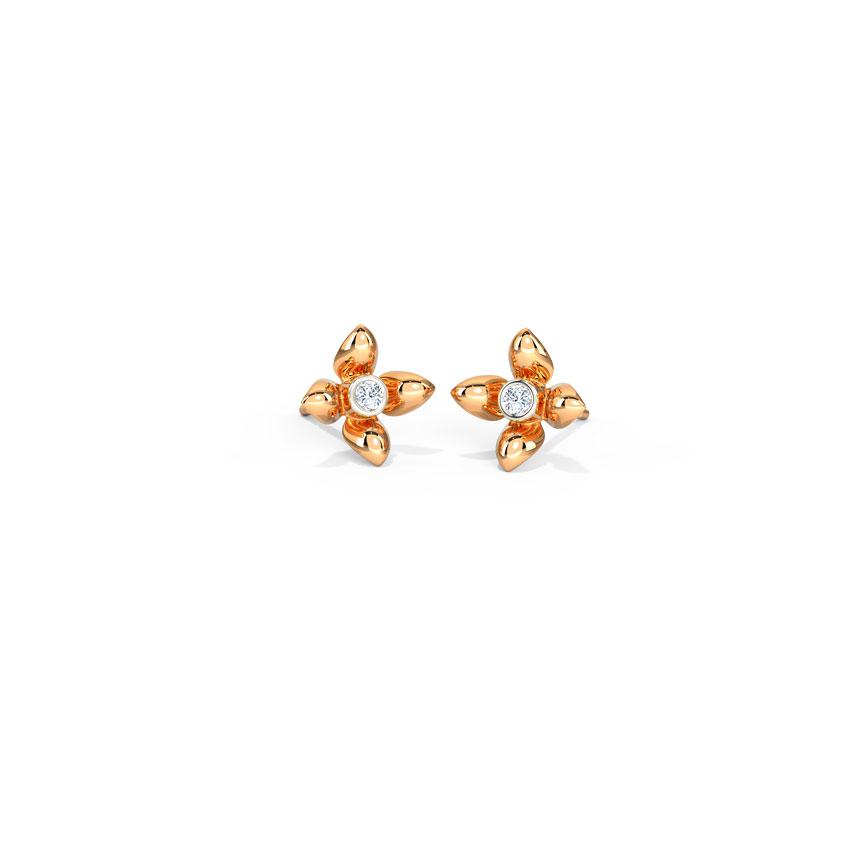 Diamond Earrings 14 Karat Rose Gold Dazzle Bloom Diamond Stud Earrings
