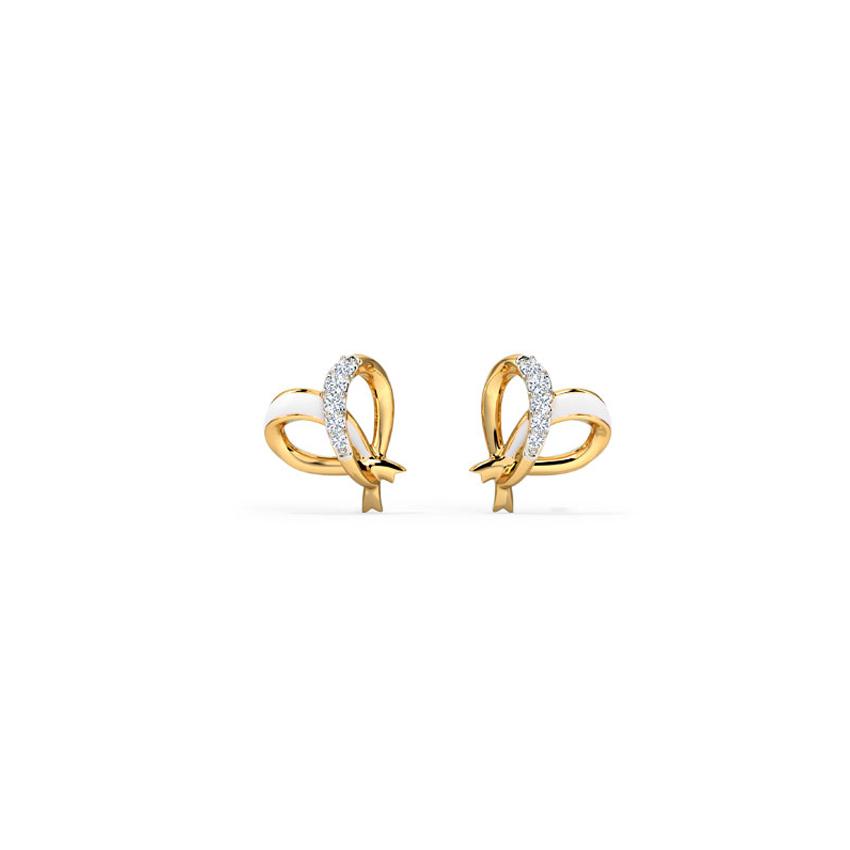Diamond Earrings 14 Karat Yellow Gold Ivory Heart Diamond Stud Earrings