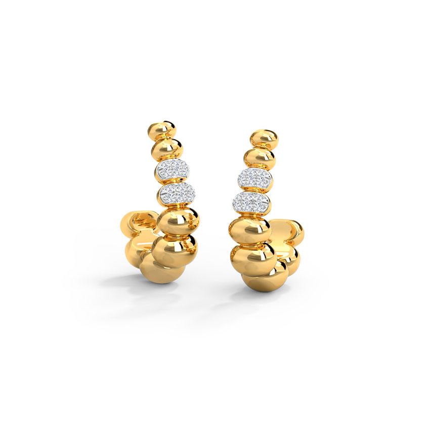 Diamond Earrings 14 Karat Yellow Gold Dreamy Bubbles Diamond Hoop Earrings