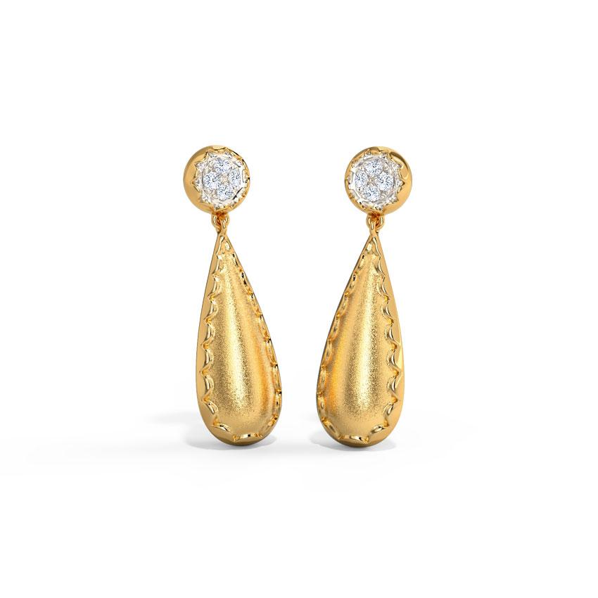 Diamond Earrings 14 Karat Yellow Gold Splendid Diamond Drop Earrings