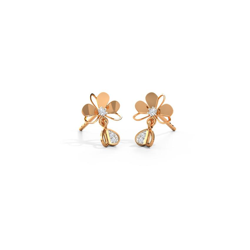 Diamond Earrings 14 Karat Rose Gold Smitten Clover Stud Earrings