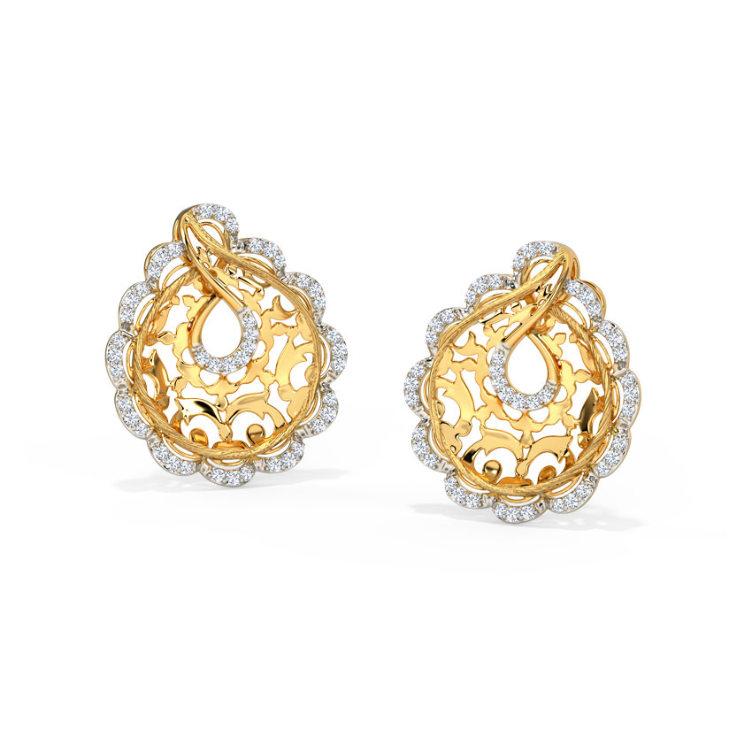 Diamond Earrings 14 Karat Yellow Gold Liana Ornate Diamond Stud Earrings