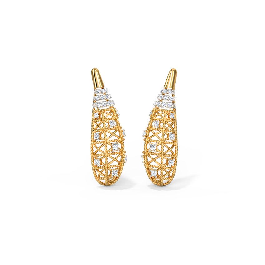 Diamond Earrings 14 Karat Yellow Gold Joyous Weave Diamond Stud Earrings