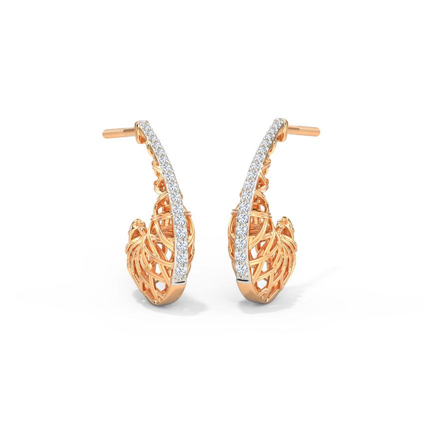 Diamond Earrings 14 Karat Rose Gold Beyond Weave Diamond Hoop Earrings