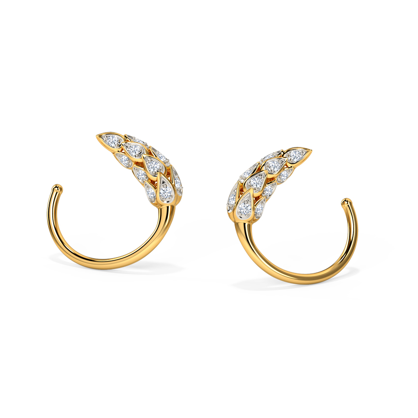 Diamond Earrings 18 Karat Yellow Gold Calming Diamond Hoop Earrings