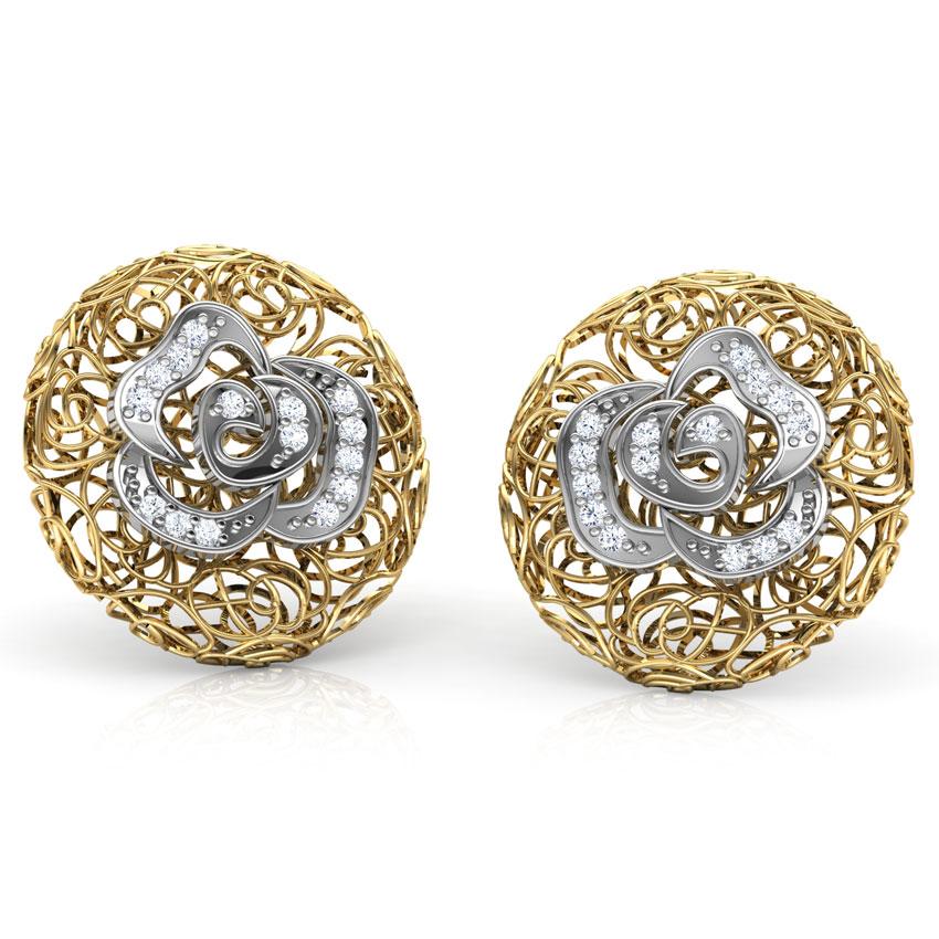Diamond Earrings 18 Karat Two Tone Gold Thea Trellis Diamond Stud Earrings