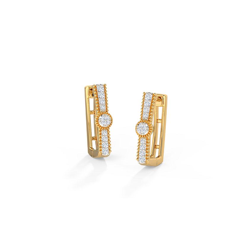 Diamond Earrings 14 Karat Yellow Gold Shine Essence Diamond Hoop Earrings