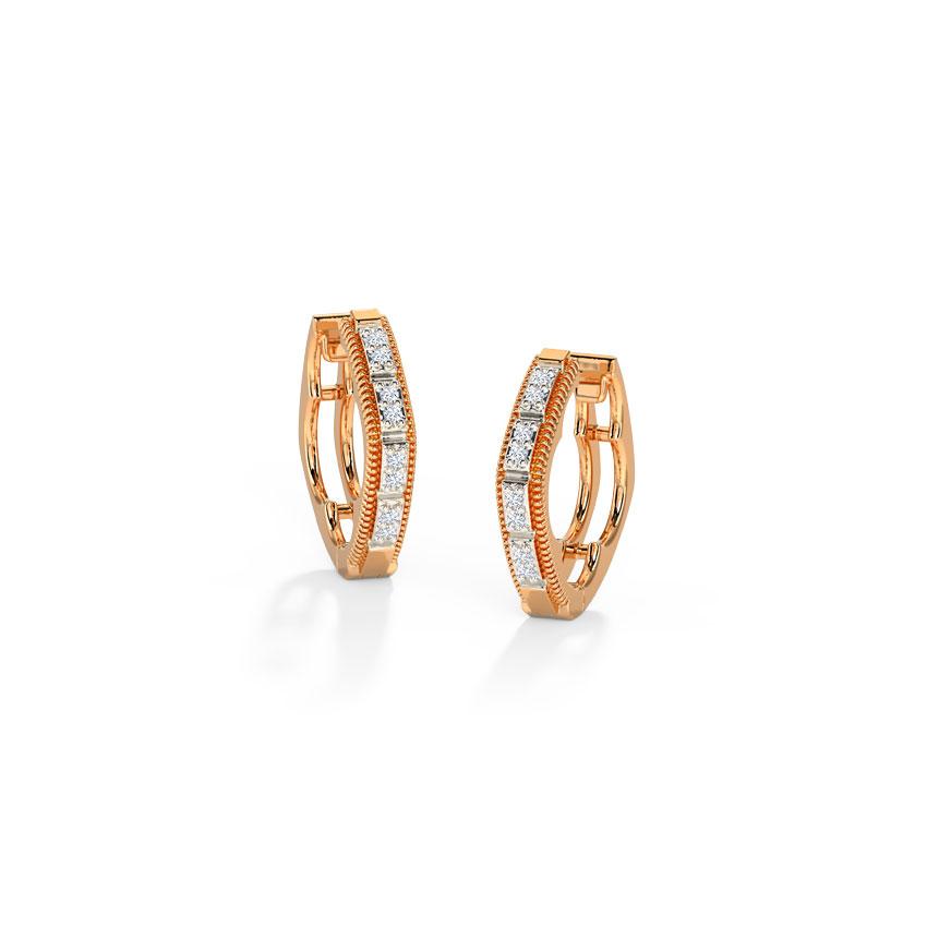 Diamond Earrings 14 Karat Rose Gold Fine Essence Diamond Hoop Earrings