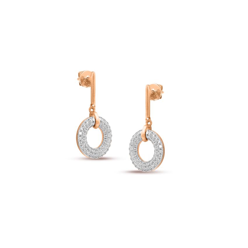 Diamond Earrings 14 Karat Rose Gold Shimmery Halo Diamond Drop Earrings