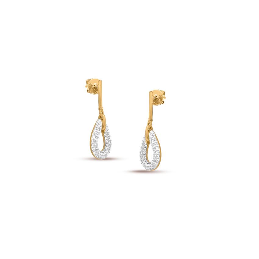 Diamond Earrings 14 Karat Yellow Gold Shimmery Dew Diamond Drop Earrings