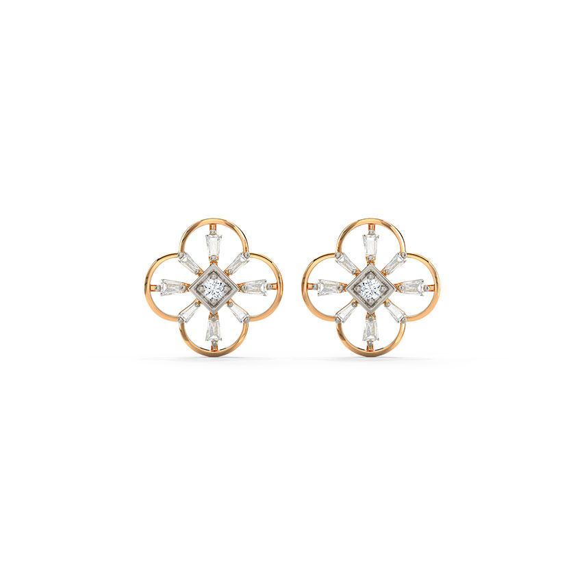 Diamond Earrings 14 Karat Rose Gold Asher Shining Diamond Stud Earrings