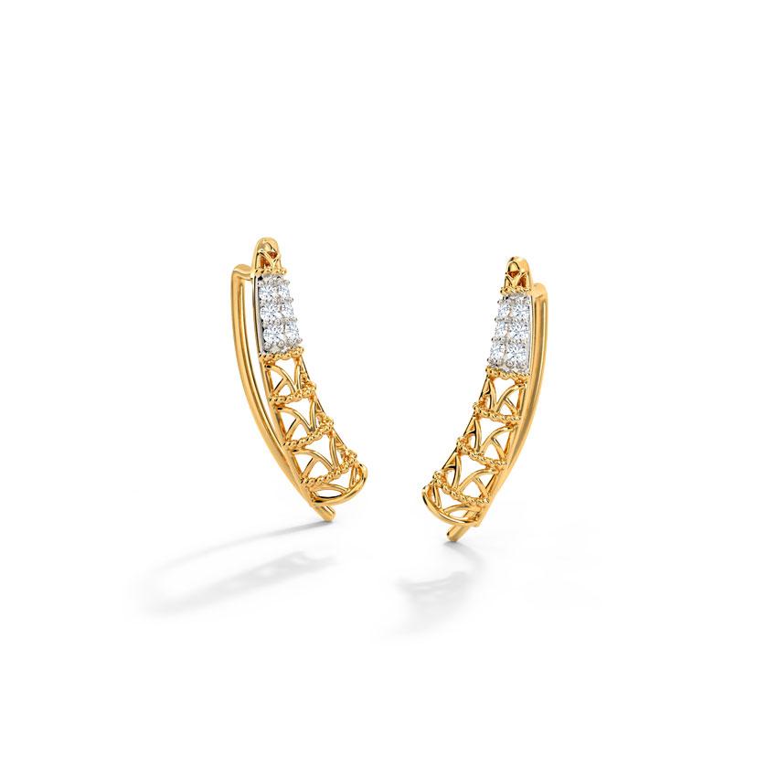 Diamond Earrings 14 Karat Yellow Gold Sleek Trigon Diamond Ear Cuffs