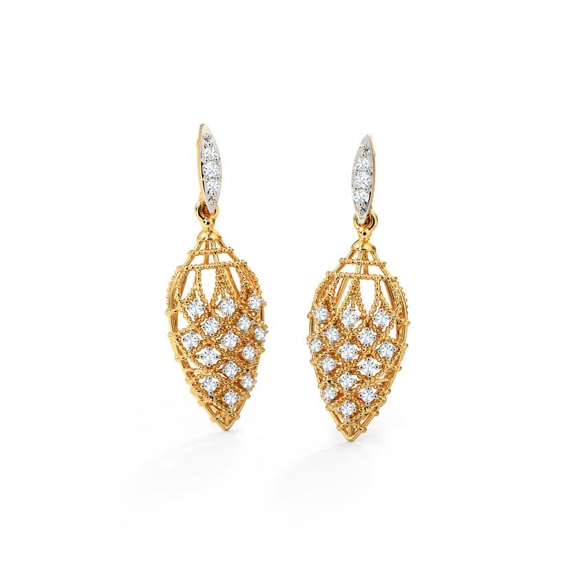Diamond Earrings 14 Karat Yellow Gold Dazzling Weave Diamond Drop Earrings