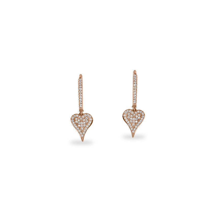 Diamond Earrings 14 Karat Rose Gold Twinkling Love Diamond Hoop Earrings