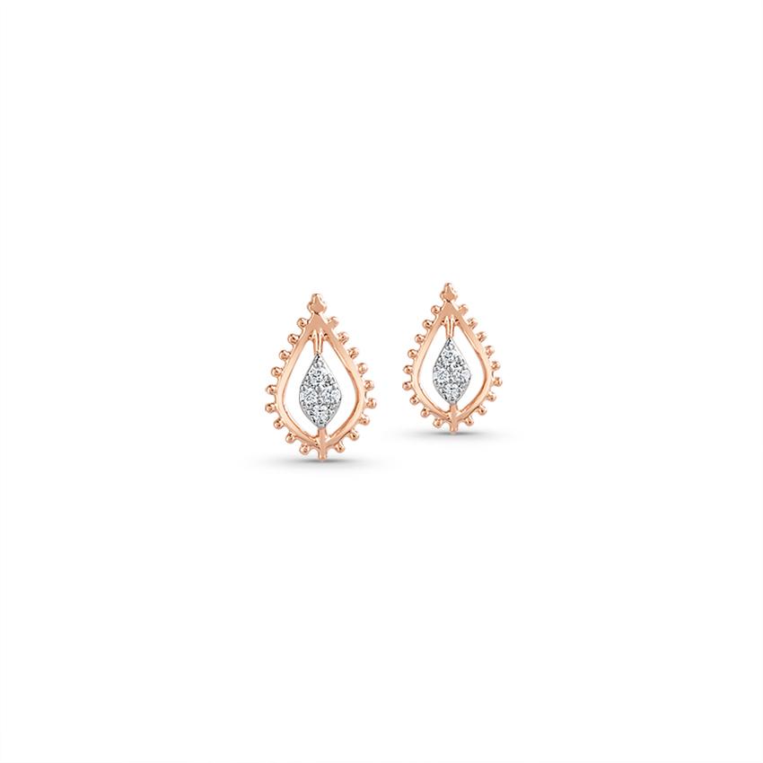 Diamond Earrings 14 Karat Rose Gold Sparkling Petal Diamond Stud Earrings