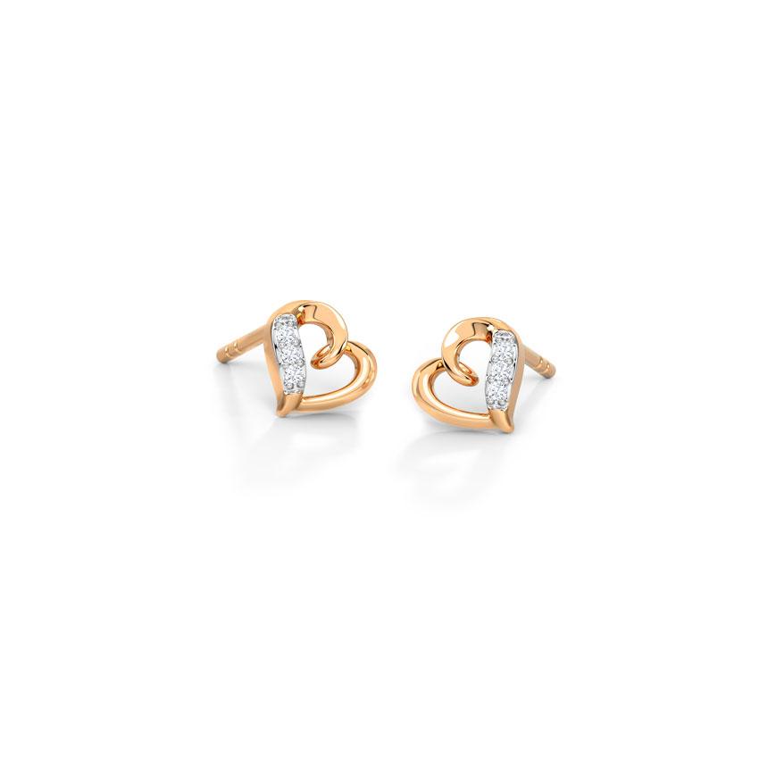 Diamond Earrings 14 Karat Rose Gold Graceful Heart Diamond Stud Earrings