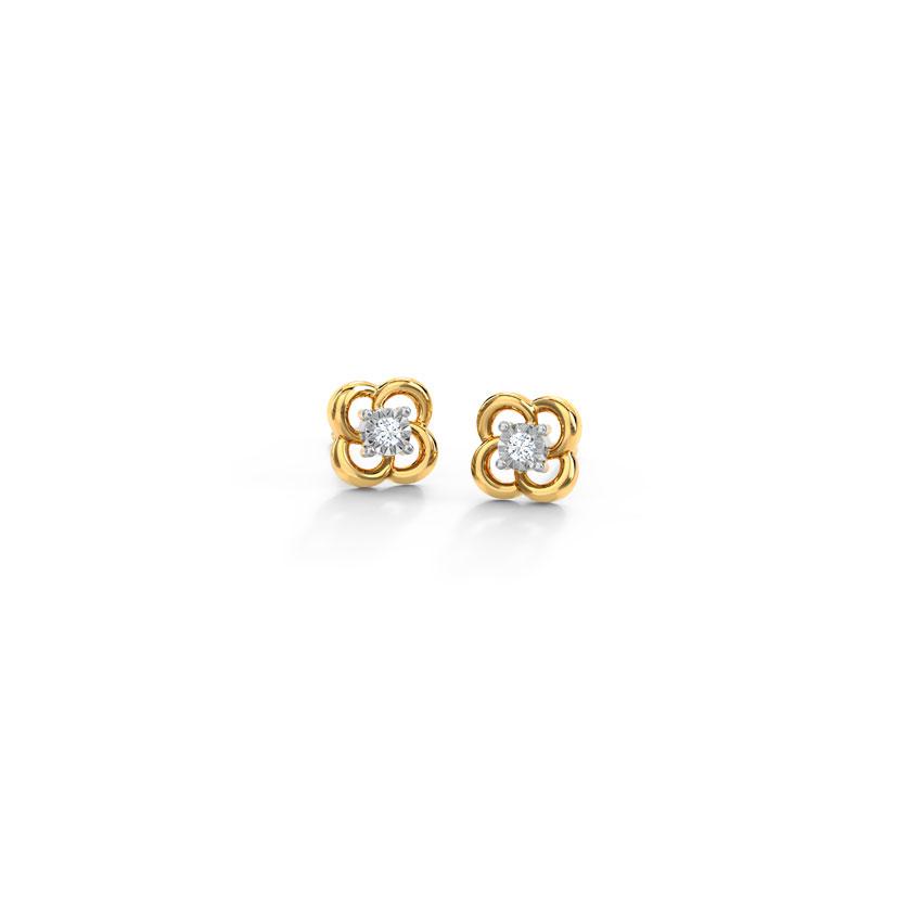 Diamond Earrings 14 Karat Yellow Gold Fortune Miracle Plate Diamond Stud Earrings