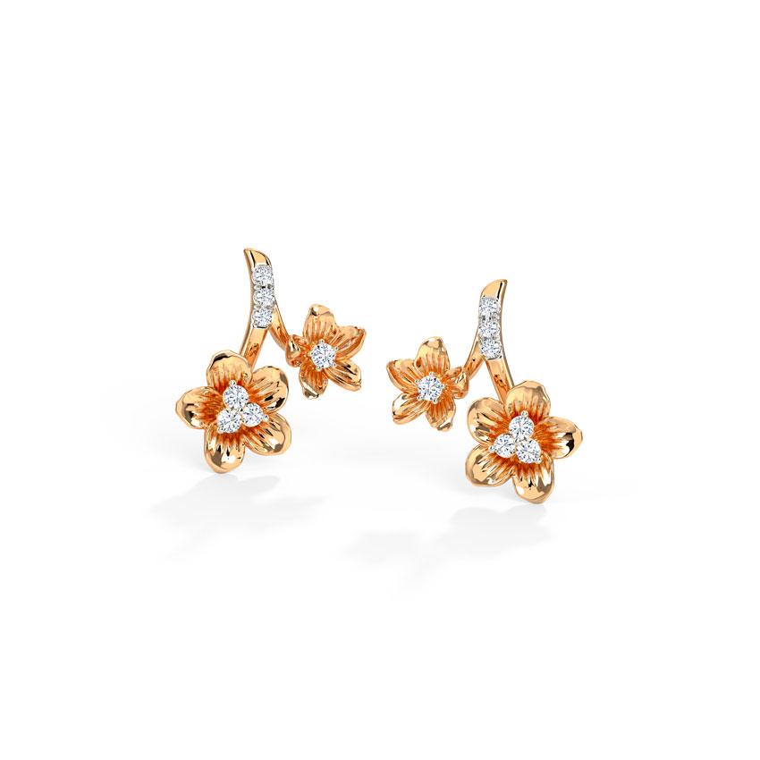 Diamond Earrings 14 Karat Rose Gold Duo Blossom Diamond Stud Earrings