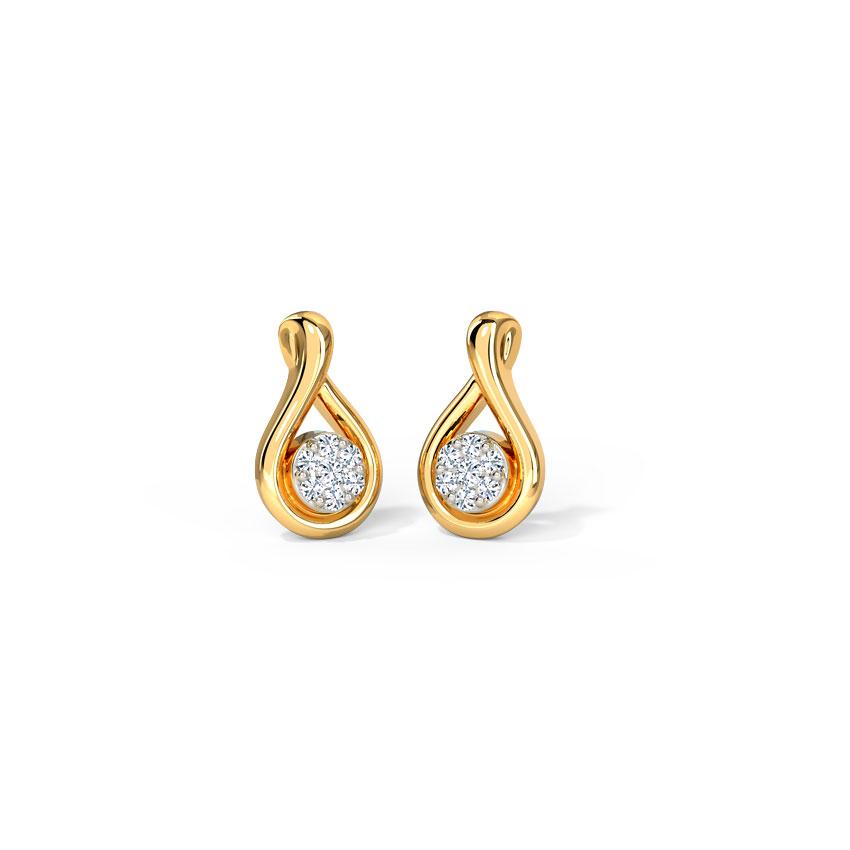 Diamond Earrings 14 Karat Yellow Gold Entwined Cluster Diamond Stud Earrings