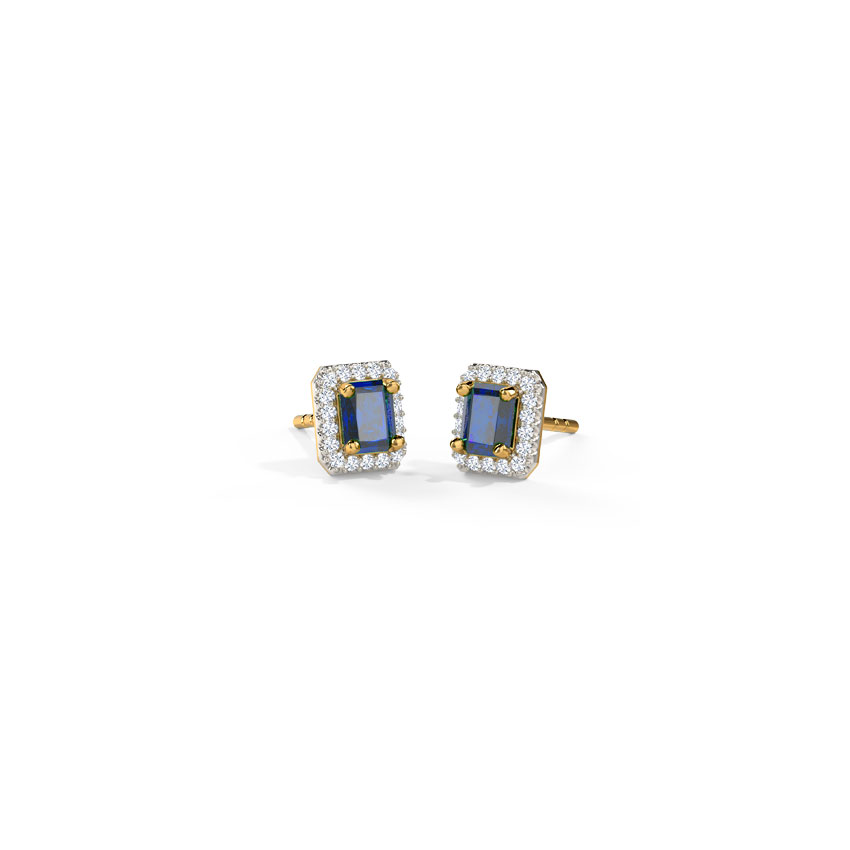 Diamond,Gemstone Earrings 14 Karat Yellow Gold Gleaming Quad Gemstone Stud Earrings
