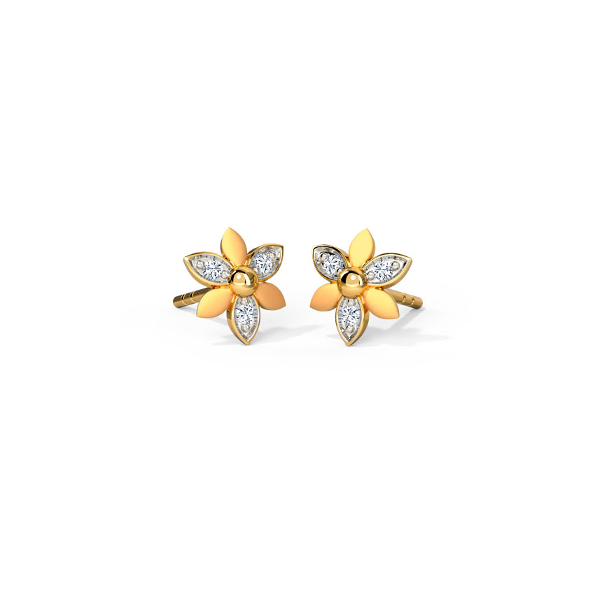 Diamond Earrings 14 Karat Yellow Gold Mini Floral Diamond Stud Earrings