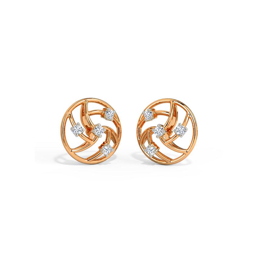 Diamond Earrings 14 Karat Rose Gold Entwined Circlet Diamond Stud Earrings