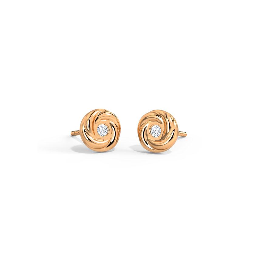 Diamond Earrings 14 Karat Rose Gold Twirling Diamond Stud Earrings