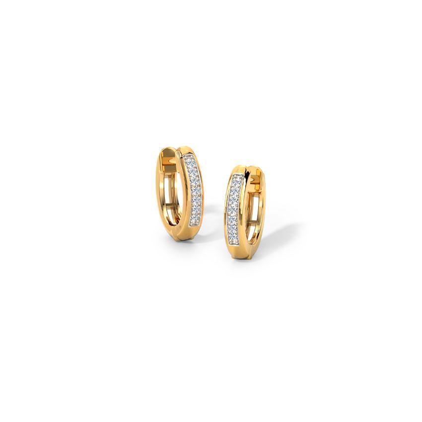Diamond Earrings 14 Karat Yellow Gold Stellar Diamond Hoop Earrings