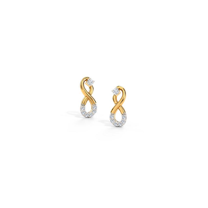 Diamond Earrings 14 Karat Yellow Gold Inifinity Diamond Stud Earrings