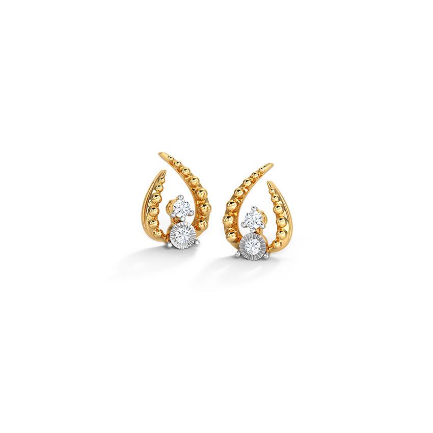 Diamond Earrings 14 Karat Yellow Gold Stark Miracle Plate Stud Earrings