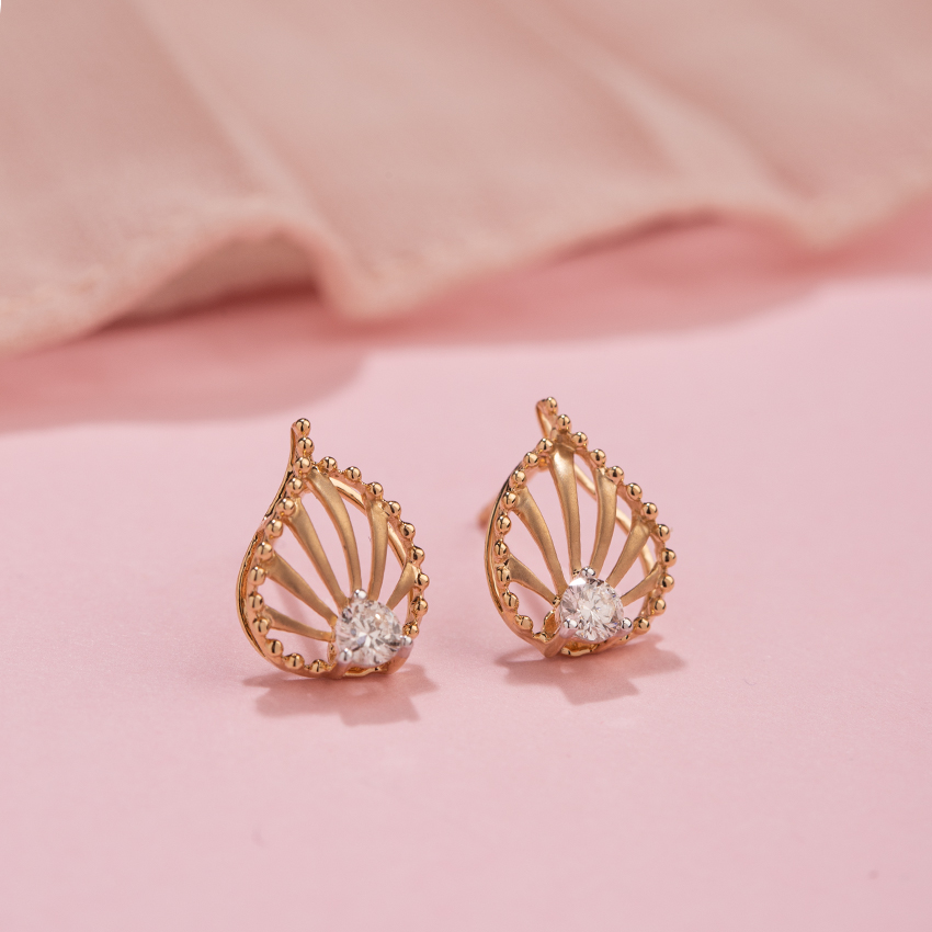 Diamond Earrings 14 Karat Yellow Gold Cleo Petal Diamond Stud Earrings