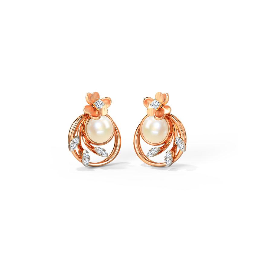 Diamond,Gemstone Earrings 14 Karat Rose Gold Periwinkle Gemstone Stud Earrings