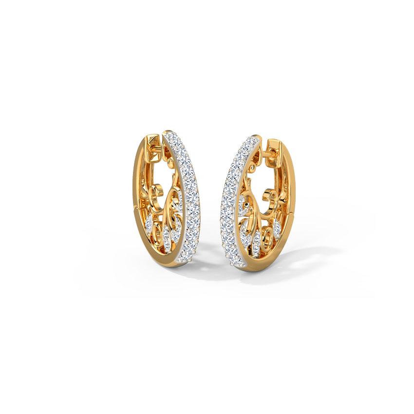 Diamond Earrings 14 Karat Yellow Gold Eve Hoop Earrings