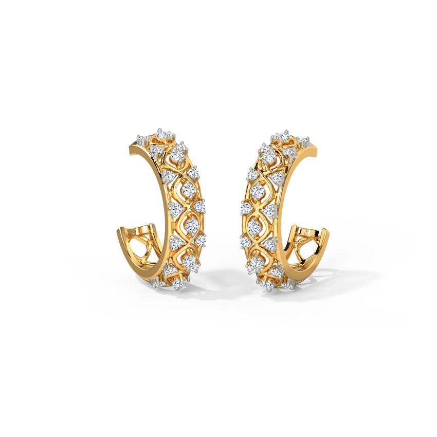 Diamond Earrings 14 Karat Yellow Gold Nikohl Diamond Hoop Earrings