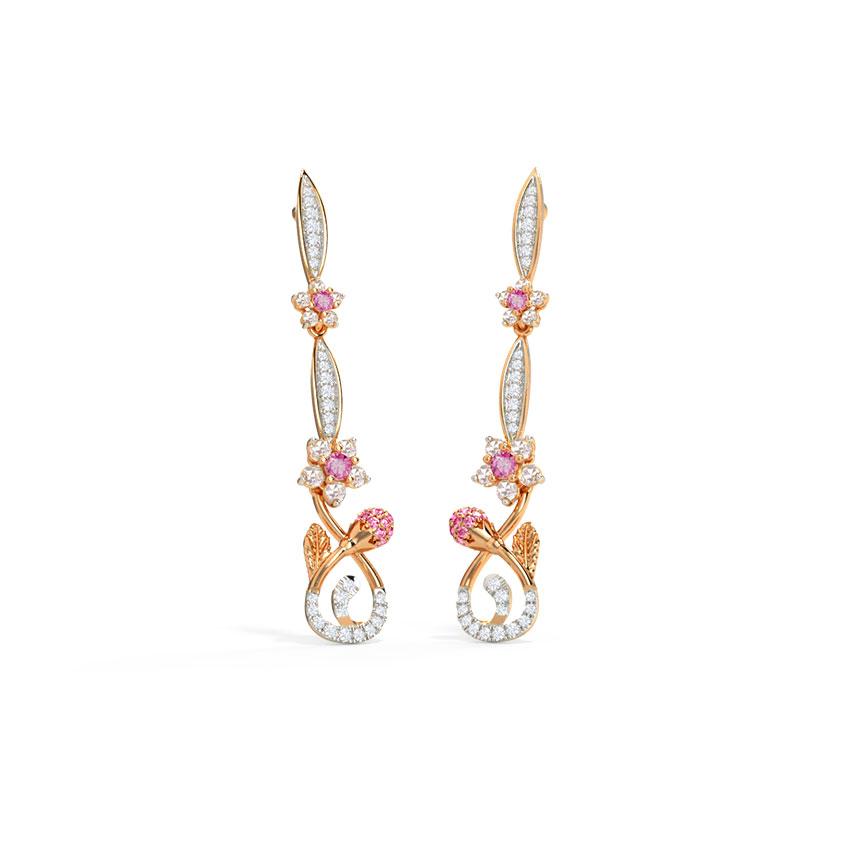 Diamond,Gemstone Earrings 14 Karat Rose Gold Cheerful Sakura Gemstone Drop Earrings