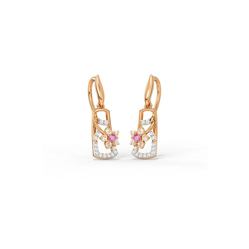 Diamond,Gemstone Earrings 14 Karat Rose Gold Joyful Sakura Gemstone Drop Earrings