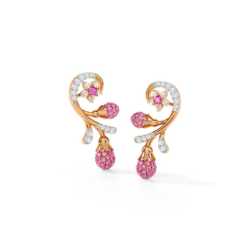 Diamond,Gemstone Earrings 14 Karat Rose Gold Jovial Sakura Gemstone Stud Earrings