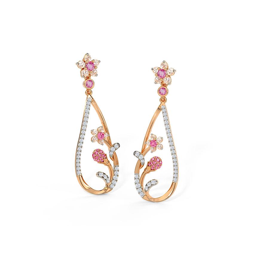 Diamond,Gemstone Earrings 14 Karat Rose Gold Charming Sakura Gemstone Drop Earrings