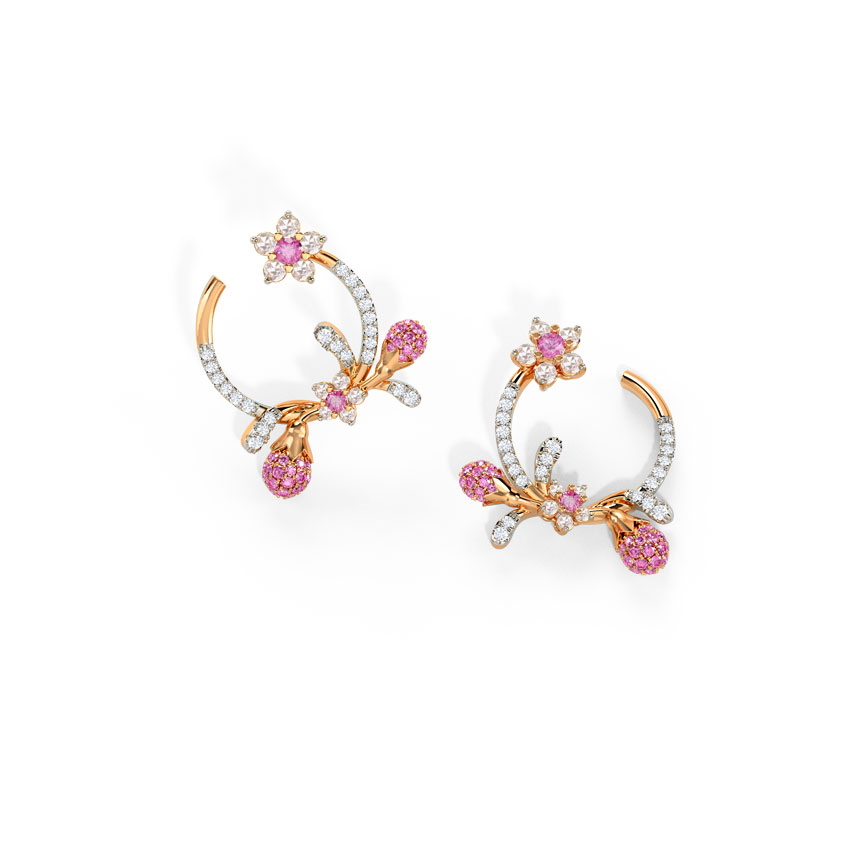 Diamond,Gemstone Earrings 14 Karat Rose Gold Adorable Sakura Gemstone Hoop Earrings